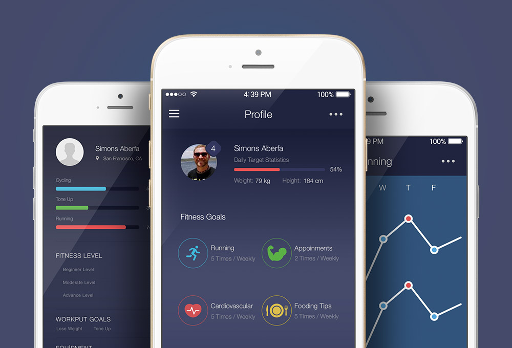 Fitness App UI Kit Free PSD