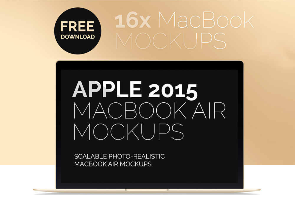 New MacBook Air 2015 Free Mockups