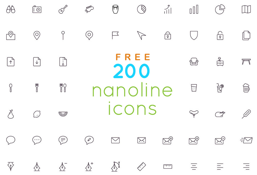 200 Free Outline Icons