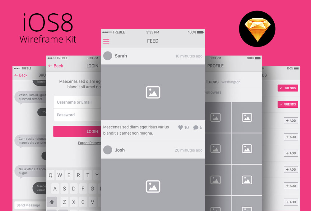 Snap: iOS 8 UI Wireframe Kit