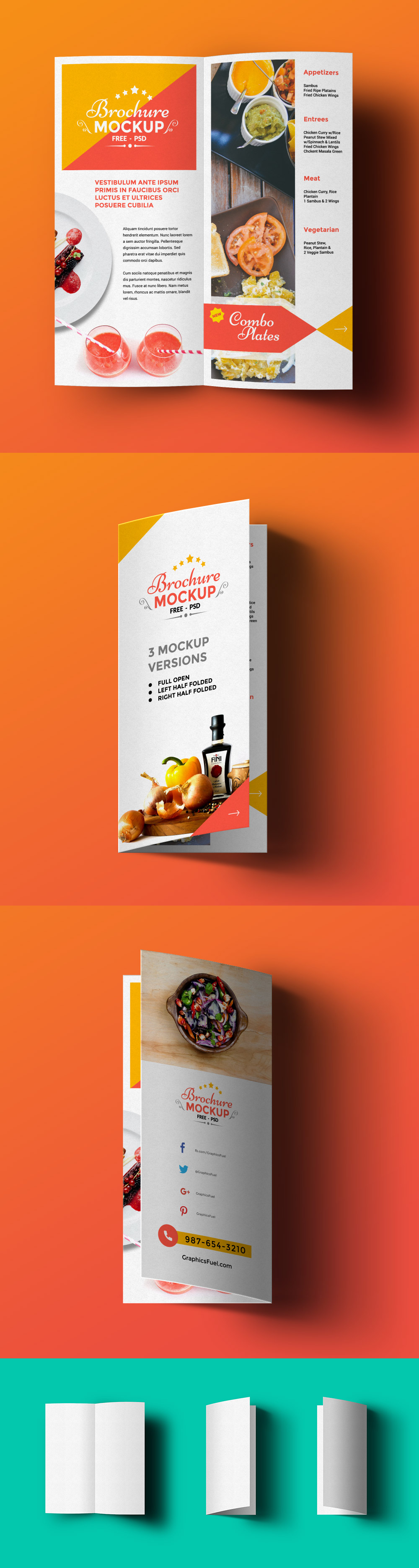 Free bi fold brochure mockup graphicsfuel for Brochure design psd templates