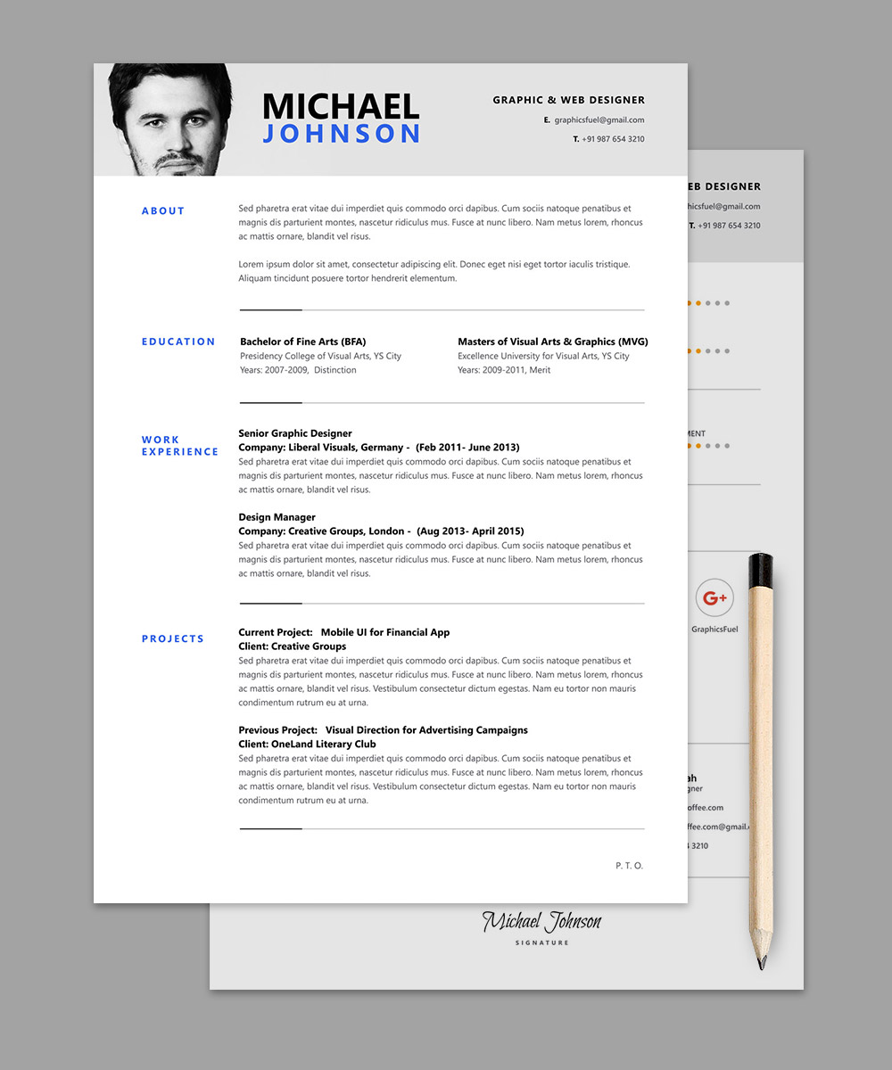 resume cv psd template graphicsfuel resume template