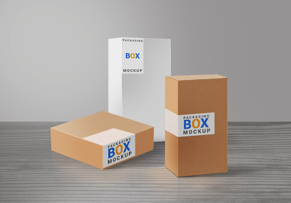 Product Packaging Boxes PSD Mockup - GraphicsFuel