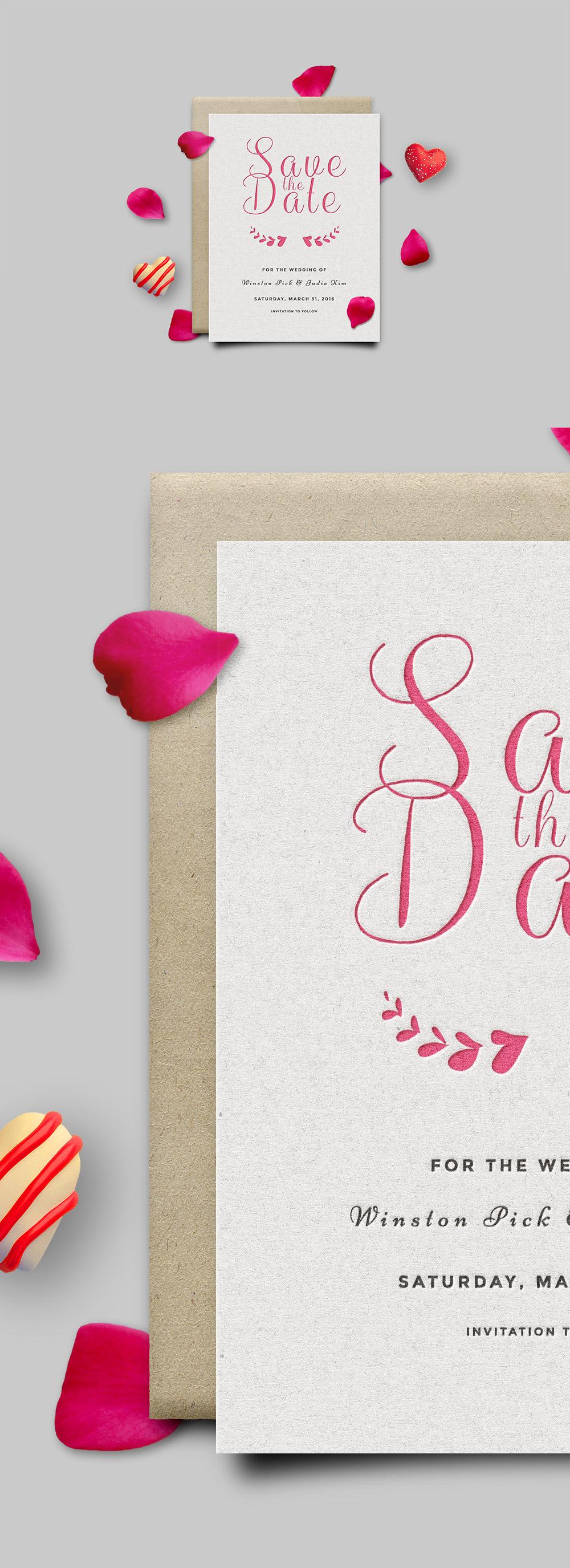 Save The Date Invitation Card Mockup