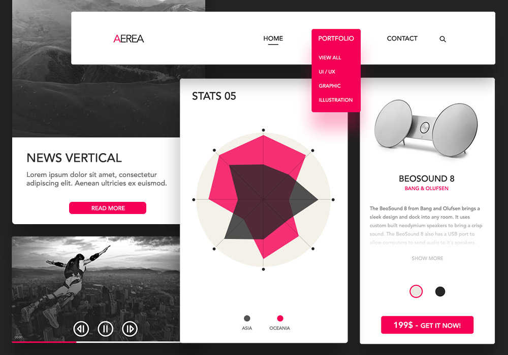 AEREA – Free UI KIT