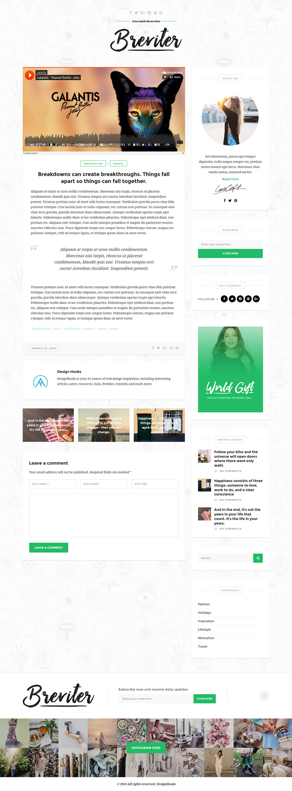 Single Post Page PSD Template