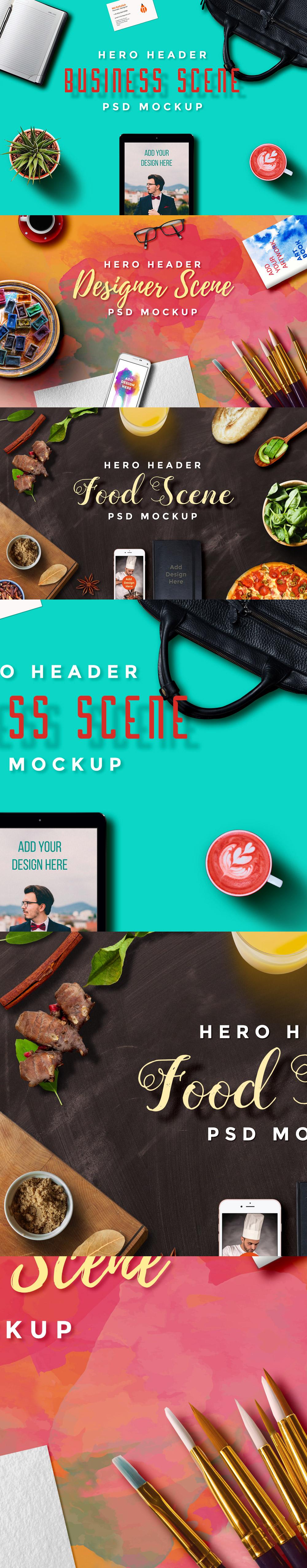 Hero Header Scene Mockup PSD Templates