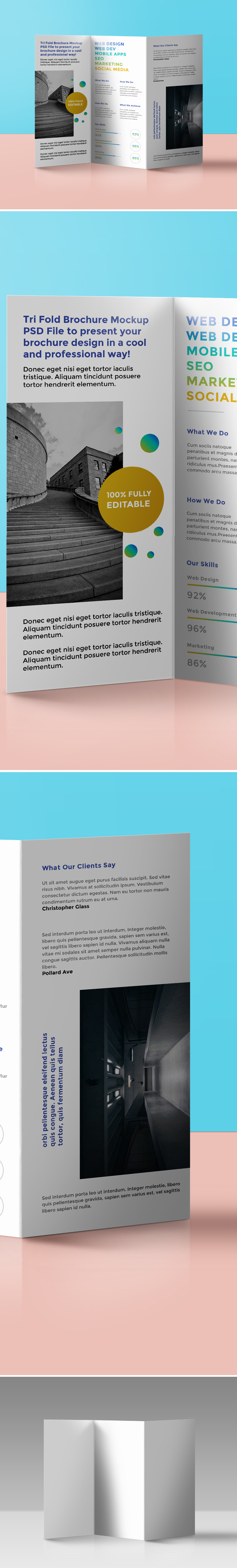 Tri fold brochure mockup psd graphicsfuel for Brochure design psd file