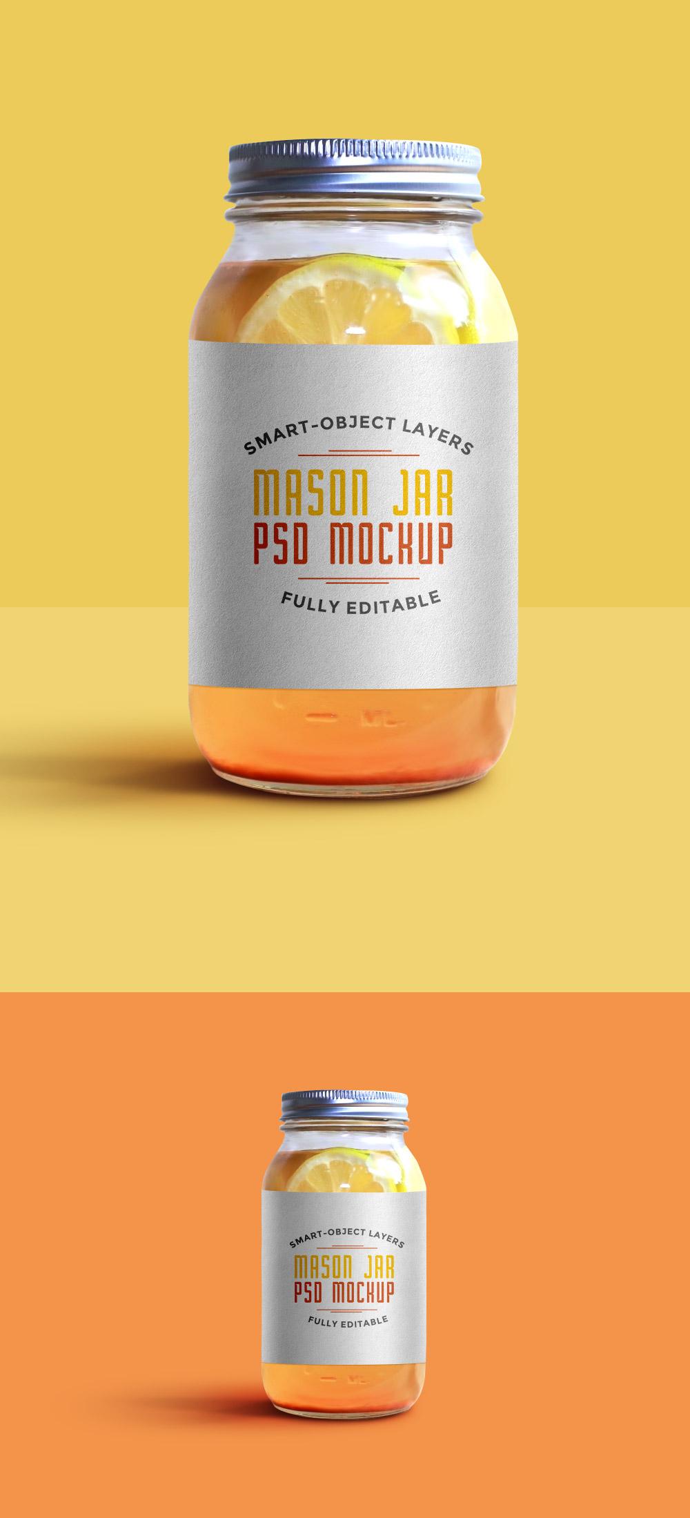 Mason Jar Mockup PSD