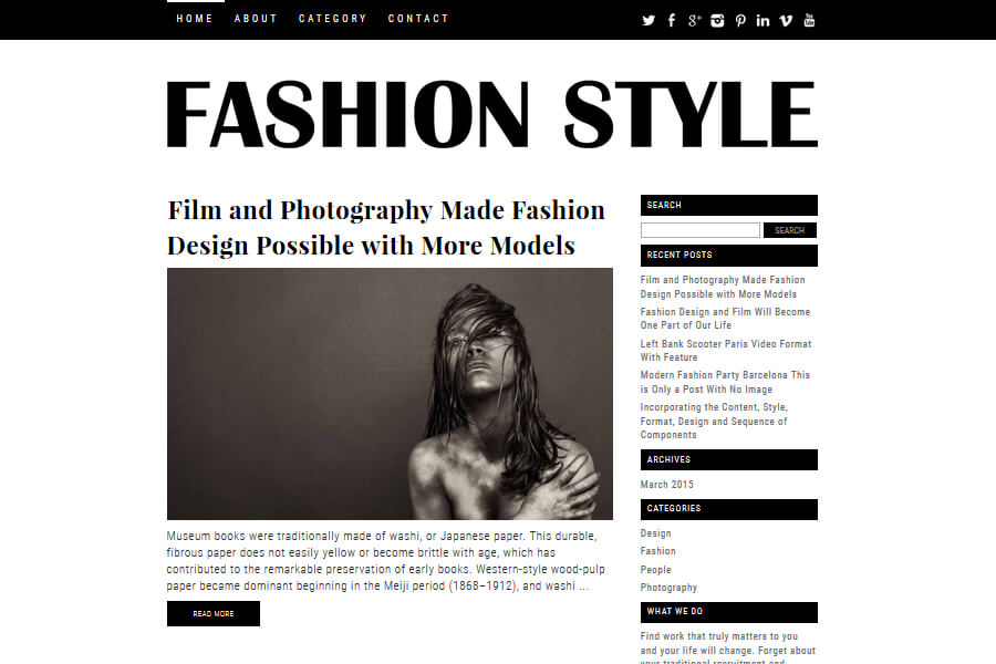 Fashion Style - free WordPress theme