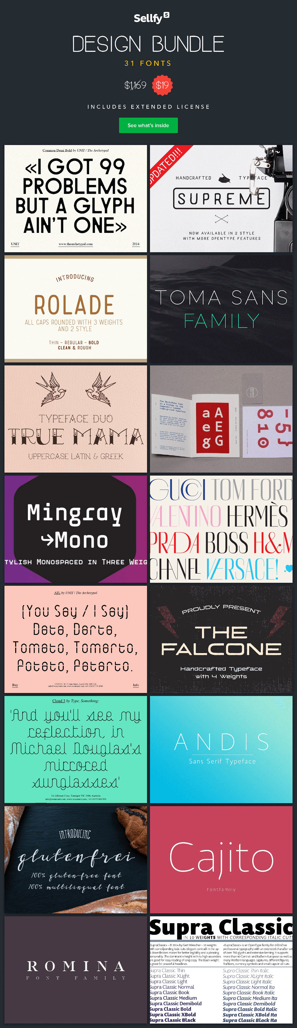 Sellfy Design Bundle: 31 Outstanding Fonts