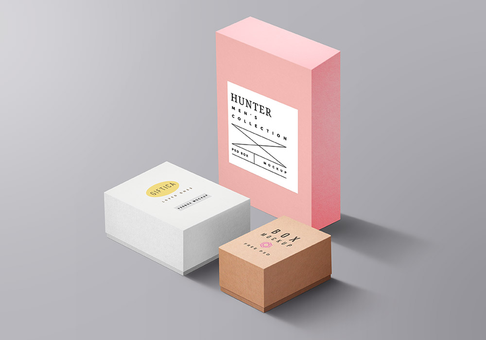 Packaging Boxes Mockup PSD - GraphicsFuel