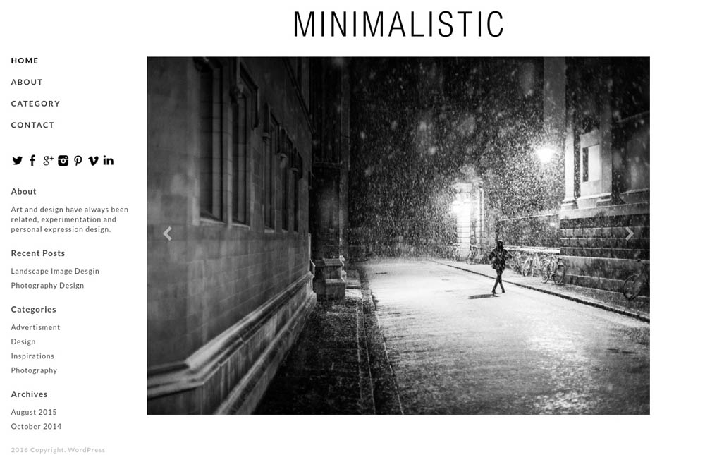 Minimalistic WordPress Theme for designers