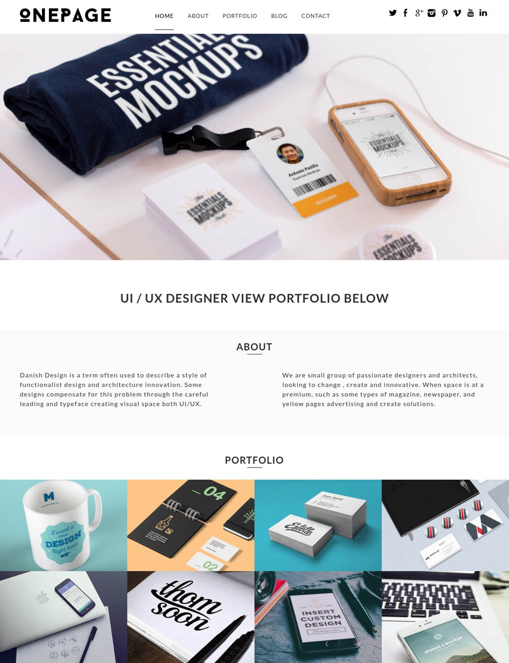 OnePage WordPress Theme for designers