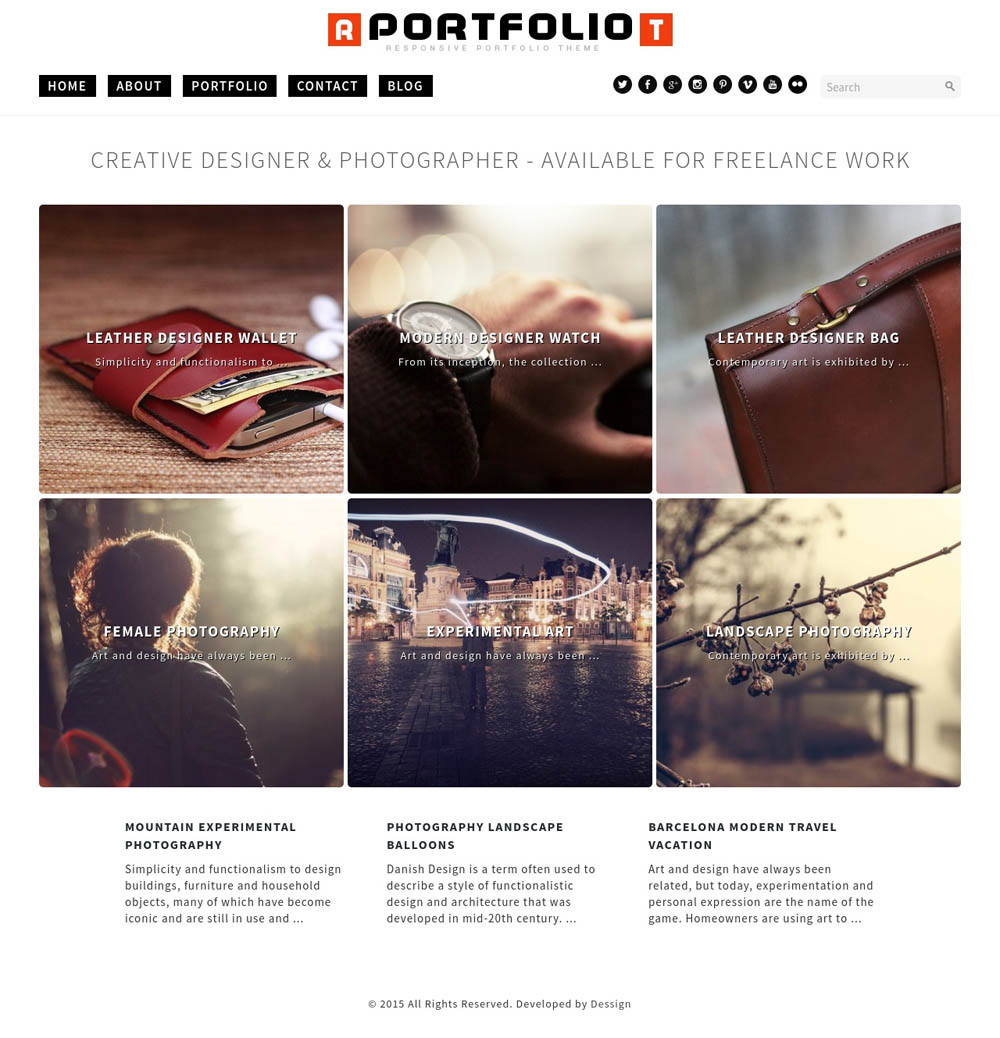 Portfolio WordPress Theme for designers