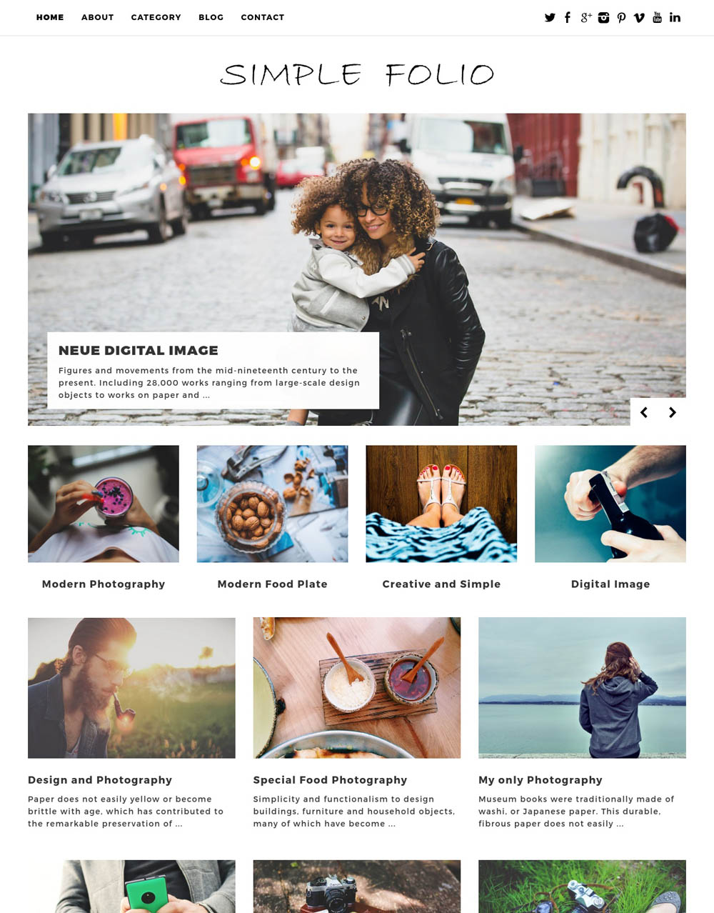 Simple Folio WordPress Theme for designers