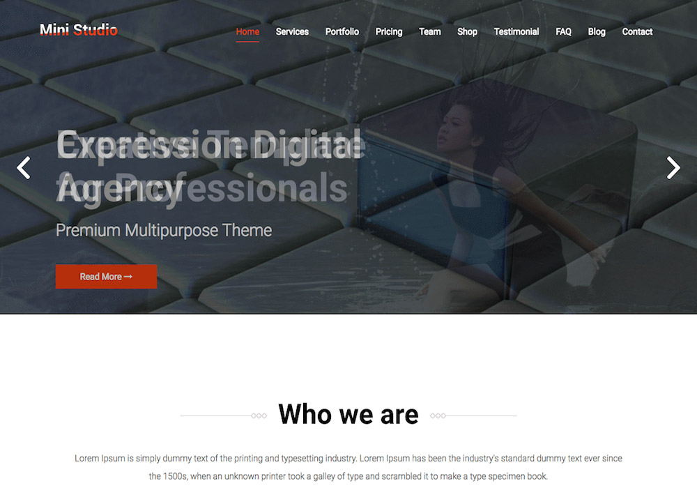 MiniStudio WordPress Theme