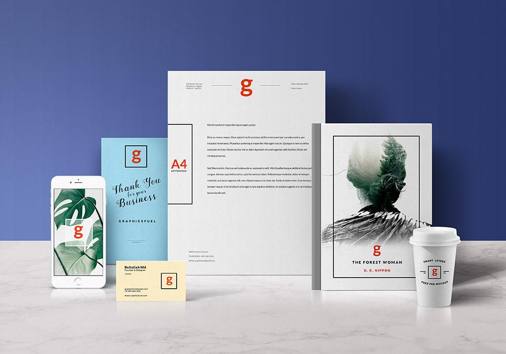 Standing Visual Branding Mockup PSD