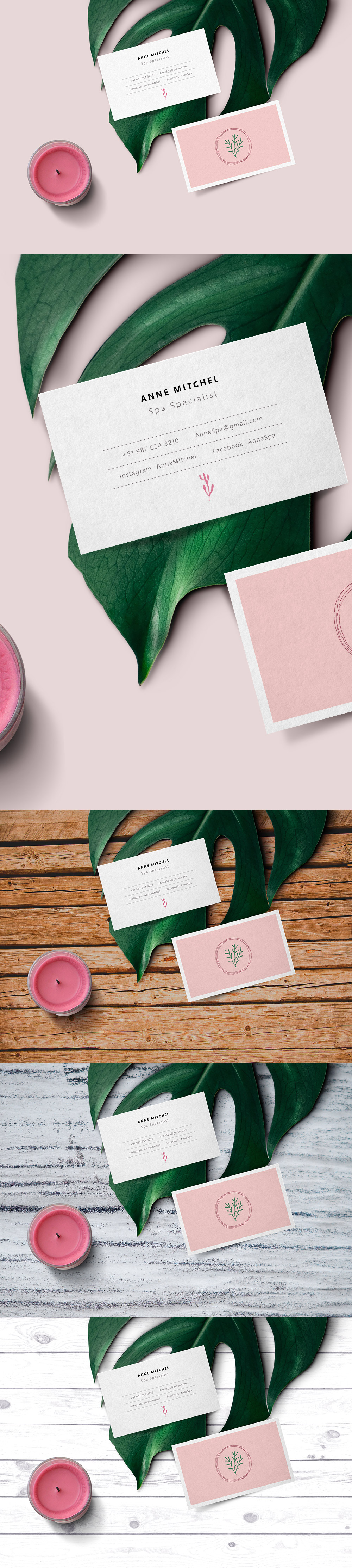 Feminine Business Card Mockup