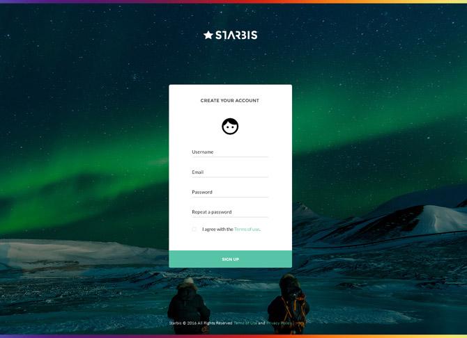 Starbis Registration Page