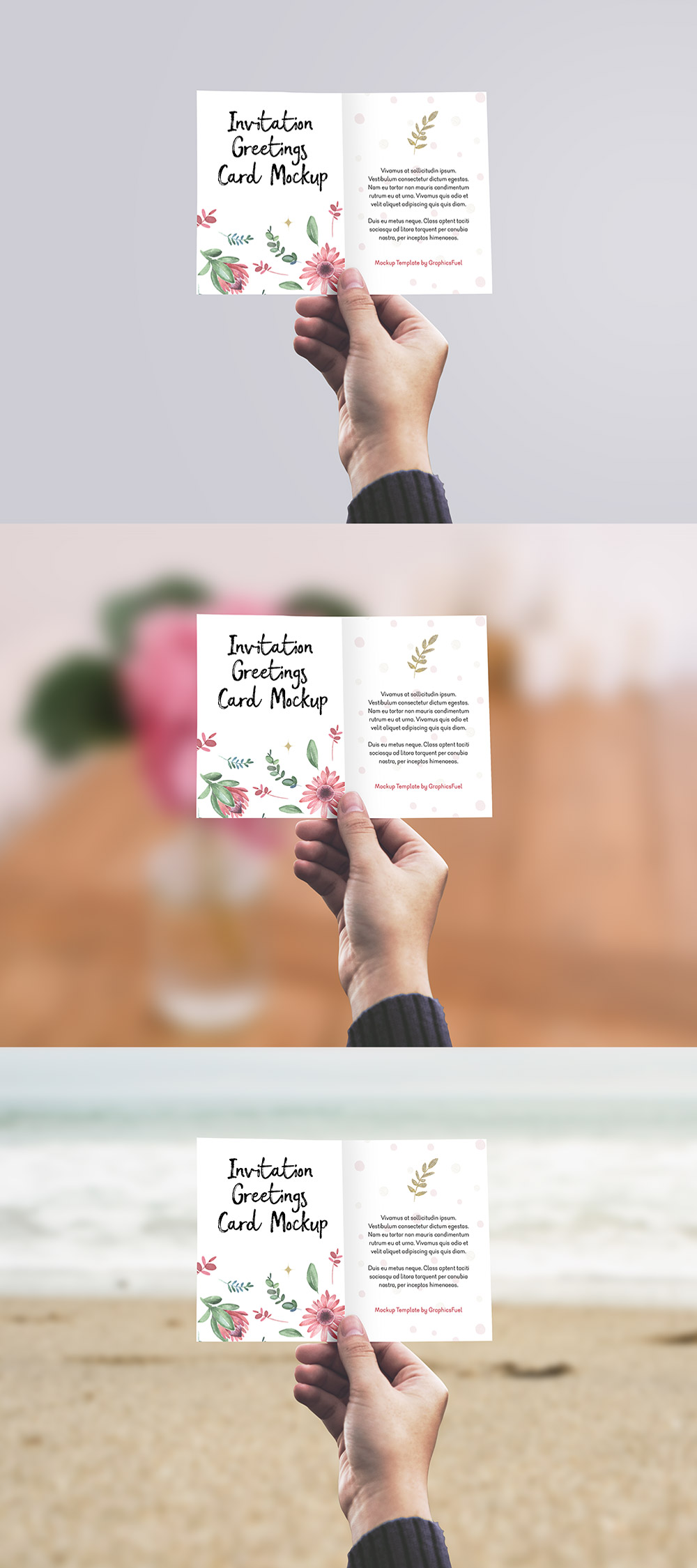 Invitation / Greeting Card in Hand Mockup PSD