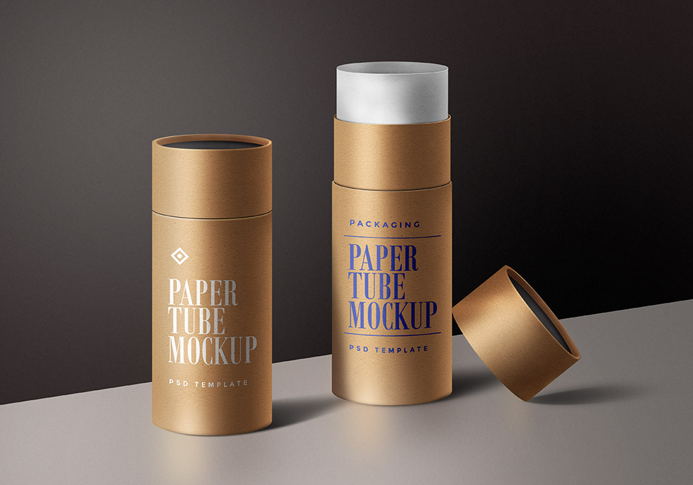 Paper Tube Packaging Mockup Template Graphicsfuel