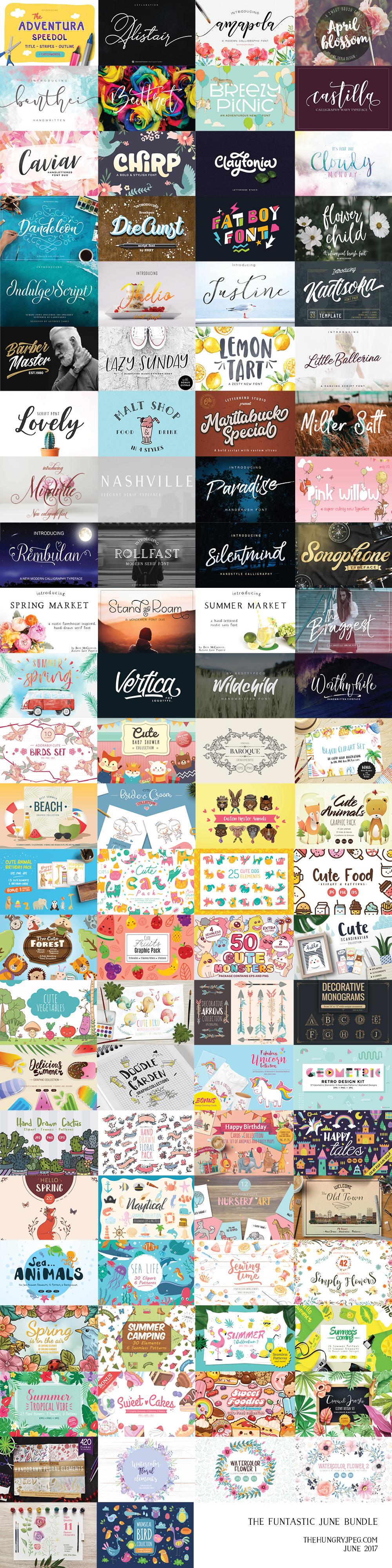 June Fonts & Graphics Bundle