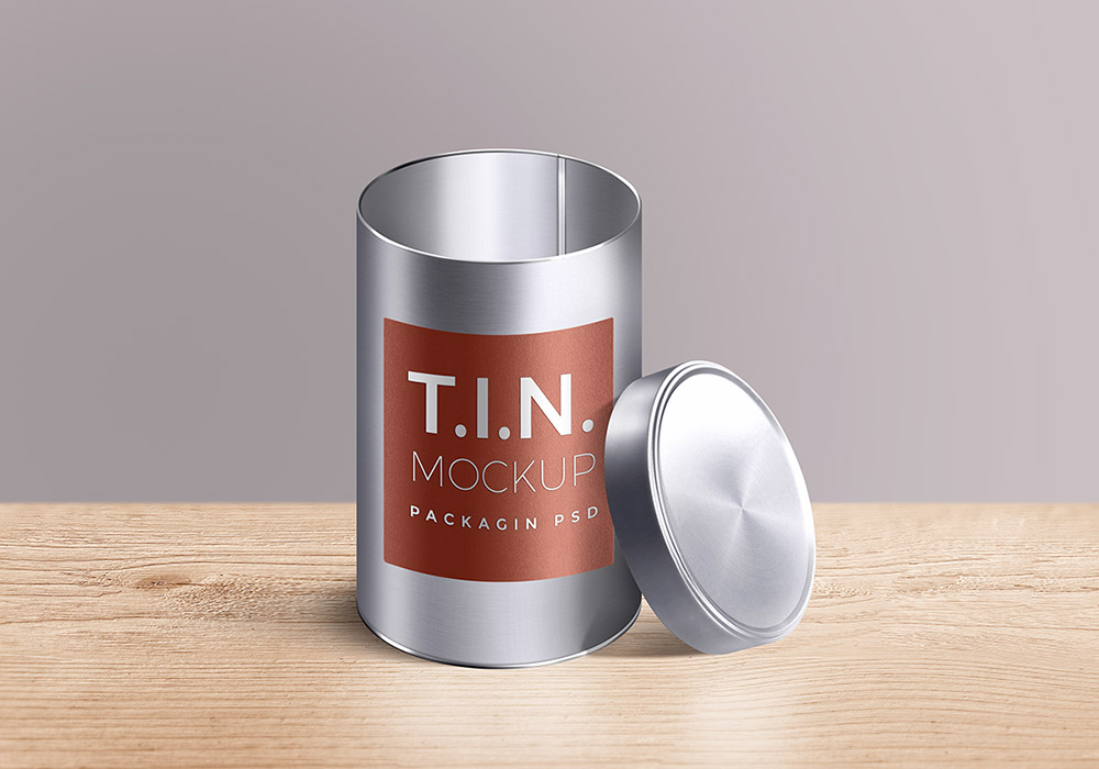 Packaging Tin Container Mockup PSD - GraphicsFuel