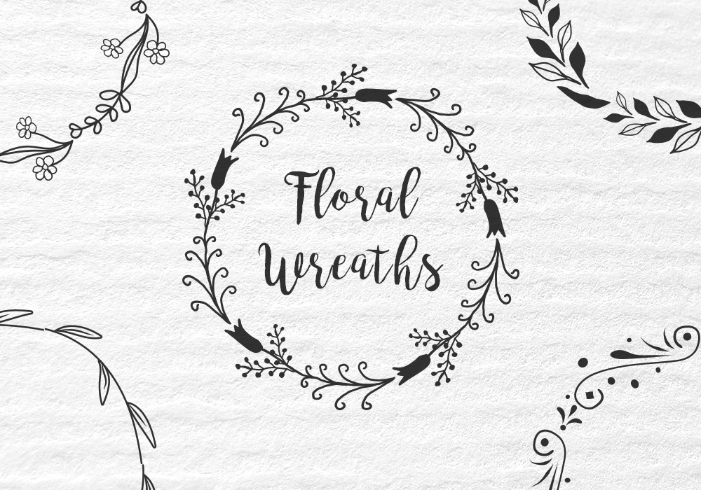 Vector Floral Wreath Set
