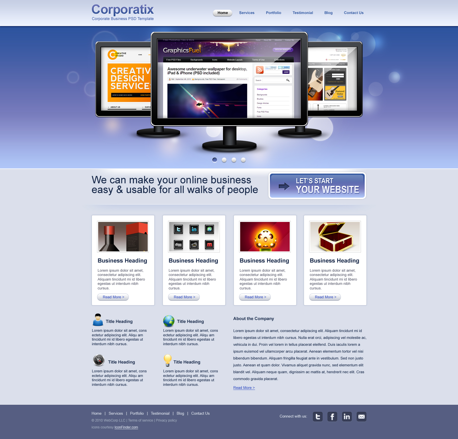 Clean corporate business website psd template graphicsfuel preview of the portfolio design accmission Gallery