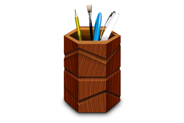 Wooden pen stand & icons (PSD & PNG)