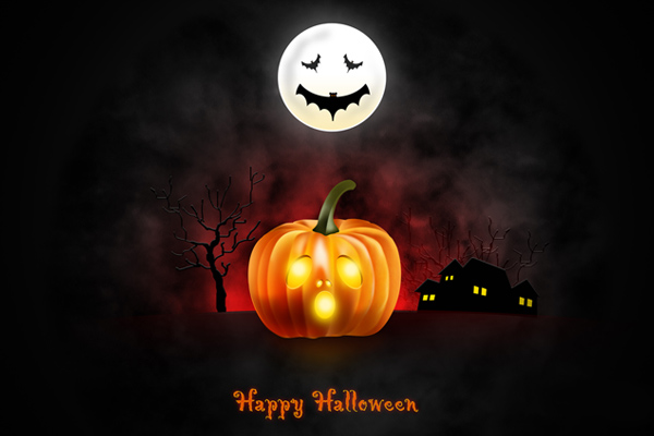 Halloween wallpaper for desktop, iPad & iPhone (PSD & icons included)