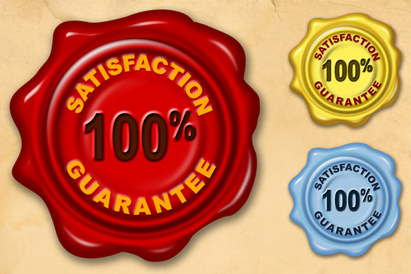 Satisfaction guarantee wax seal (PSD & PNG)