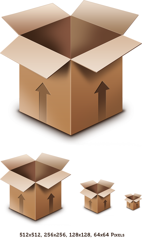 Cardboard Box PSD Icon