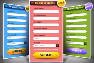 Request a quote form PSD in 3 colors