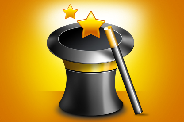 Magician hat and wand PSD file