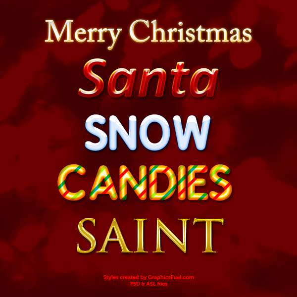 Christmas Photoshop text styles