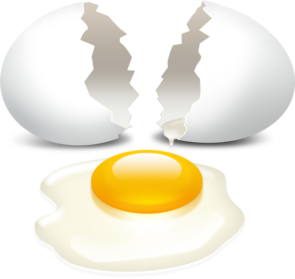 Broken egg with yolk PSD download