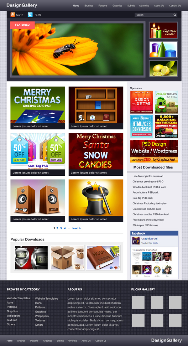 Website gallery PSD template - GraphicsFuel