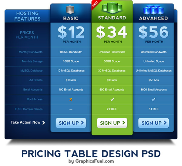 Pricing table PSD template - GraphicsFuel