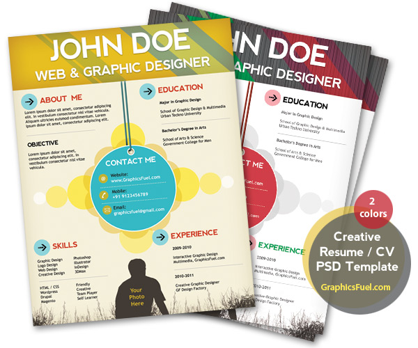 Creative resume / CV PSD template (CMYK print-ready)