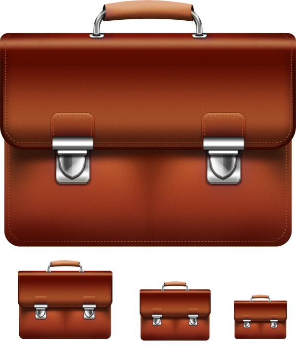 Leather briefcase PSD & icon