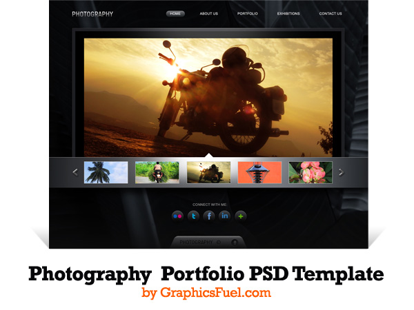 Photography portfolio website PSD template