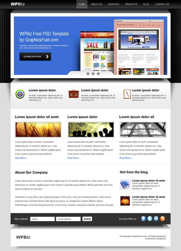 WordPress business website PSD template