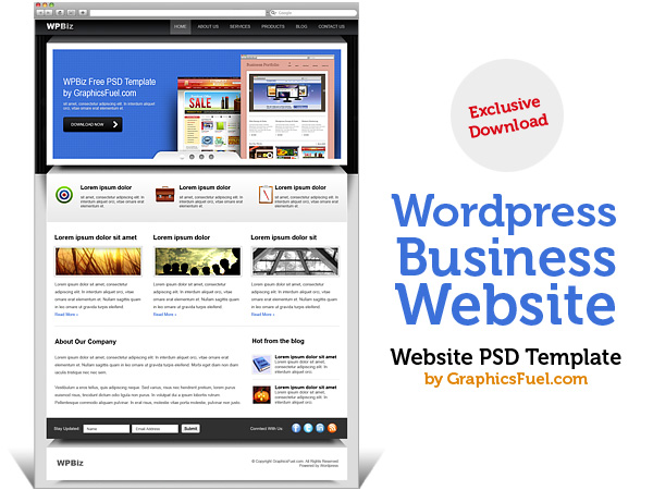 Wordpress business website psd template graphicsfuel wordpress business website psd template wajeb