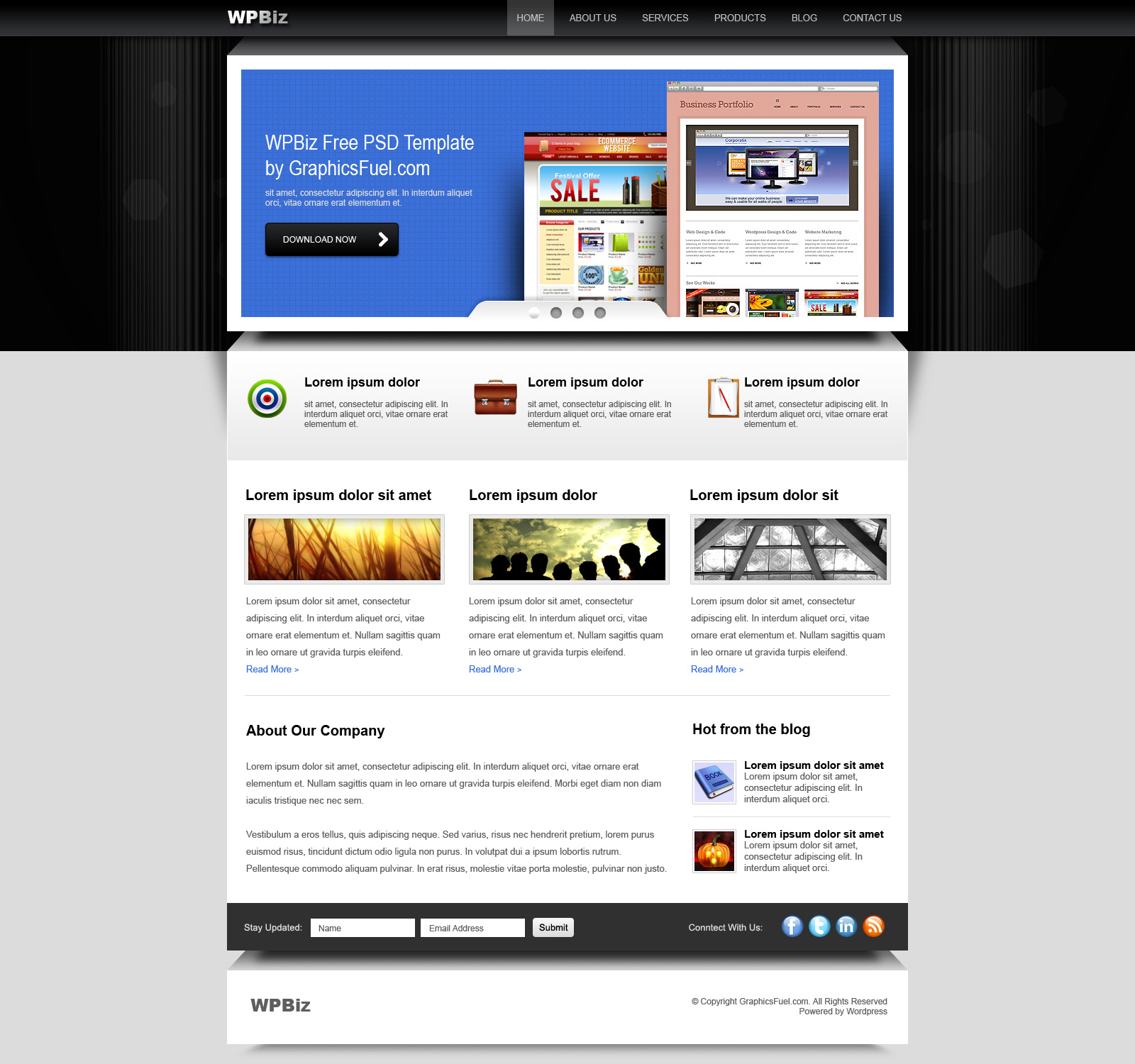 Wordpress business website psd template graphicsfuel preview of the psd template accmission Images