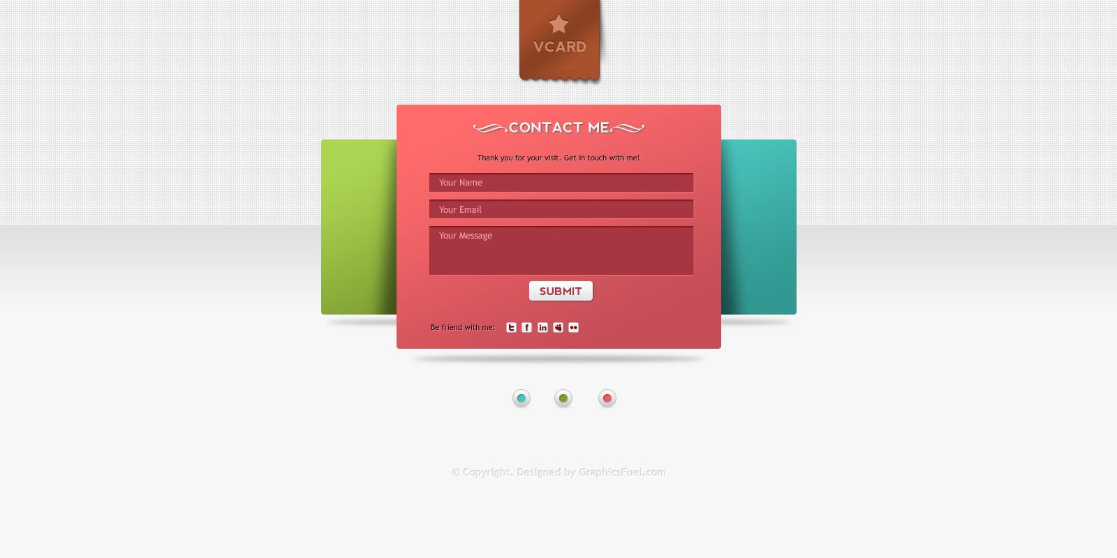 v-card minimal website psd templates