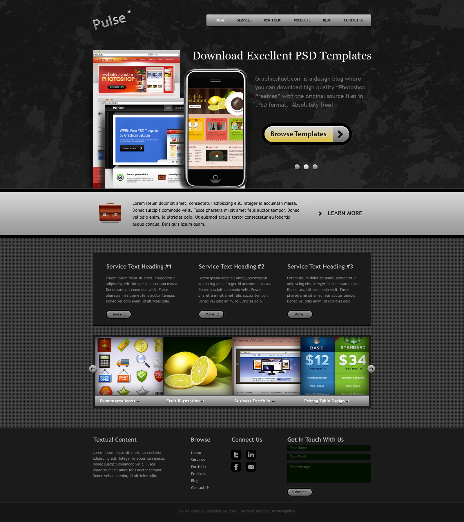 Psd Website Templates: Website PSD Template In 3 Colors