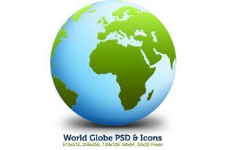 World globe PSD & icons