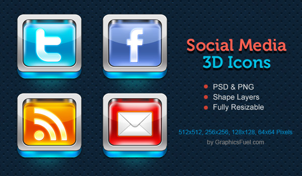 Shiny 3D social media icons PSD
